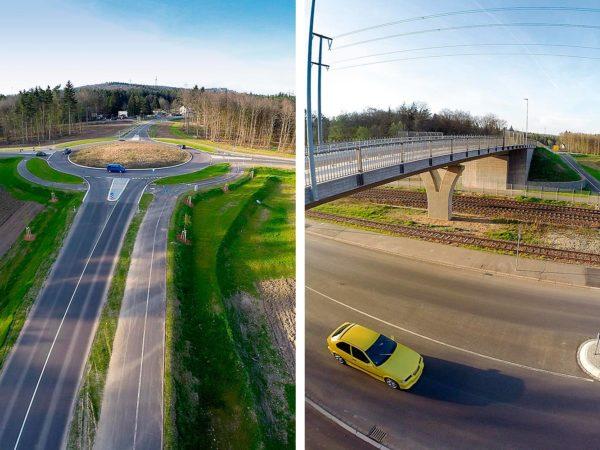 Verkehrsanlagen - Mittelspange Brücke Singen mit Kreisverkehr und Zweifeldbrücke über 3 Gleise